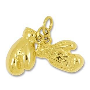 Anhänger Boxhandschuhe in echt Sterling-Silber 925 oder Gelbgold, Charm, Ketten- oder Bettelarmband-Anhänger