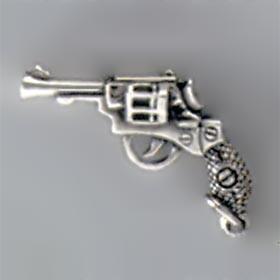 Anhänger Revolver, Pistole in echt Sterling-Silber oder Gold, Charm, Ketten- oder Bettelarmband-Anhänger