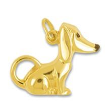 Anhänger Dackel, Hund in echt Gelbgold 375, 585 oder 750, Charm, Ketten- oder Bettelarmband-Anhänger