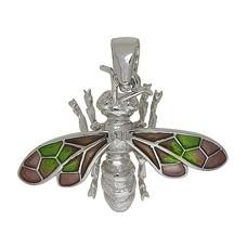 Anhänger Biene in echt Sterling-Silber 925 emailliert, hochwertiger Ketten- oder Schlüssel-Anhänger
