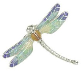 Zierfigur Libelle in echt Sterling-Silber bunt emailliert - Standmodell groß