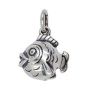 Anhänger Kugelfisch in echt Sterling-Silber oder Gold, Charm, Kettenanhänger oder Bettelarmband-Anhänger