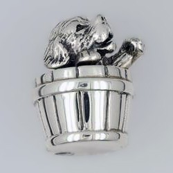 Zierfigur Hund im Eimer in echt Sterling-Silber 925 teilgeschwärzt, Standmodell
