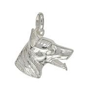 Anhänger Schäferhundkopf in echt Sterling-Silber 925 oder Gelbgold, Charm, Ketten- oder Bettelarmband-Anhänger