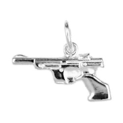 Anhänger Pistole in echt Sterling-Silber 925, Charm, Ketten- oder Bettelarmband-Anhänger