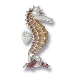 Zierfigur Seepferdchen in echt Sterling-Silber 925 emailliert, Standmodell