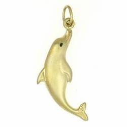 Anhänger Delfin, Delphin echt Gelbgold mattiert, Kettenanhänger oder Schlüssel-Anhänger