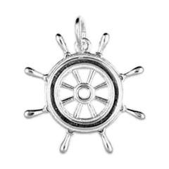 Anhänger Schiffssteuerrad, Bootsuder in echt Sterling-Silber 925 oder Gold, Charm, Ketten- oder Bettelarmband-Anhänger