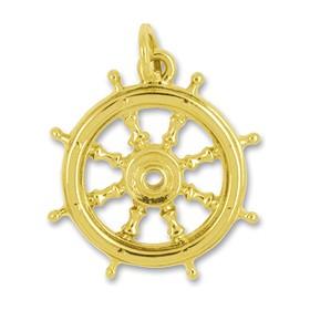 Anhänger Schiffssteuerrad, Bootsuder in echt Gold, Charm, Ketten- oder Bettelarmband-Anhänger