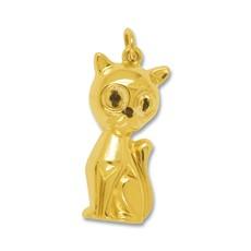Anhänger Katze in echt Gelbgold 375, 585 oder 750, Ketten- oder Schlüssel-Anhänger
