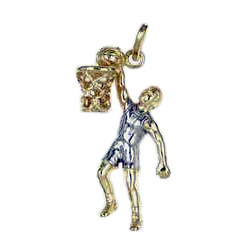 Anhänger Basketball, Charms in Silber & Gold