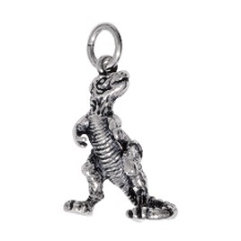 Anhänger Dinosaurier, Tyrannosaurus rex  in echt Sterling-Silber oder Gelbgold, Charm, Kettenanhänger oder Bettelarmband-Anhänger