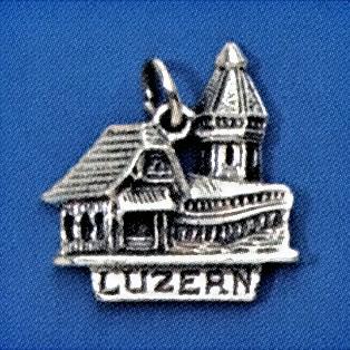 Anhänger Luzern, Brücke mit Turm in echt Sterling-Silber 925 oder Gold, Charm, Ketten- oder Bettelarmband-Anhänger
