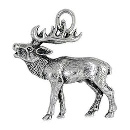 Anhänger Hirsch in echt Sterling-Silber 925 oder Gold, Ketten- oder Schlüssel-Anhänger
