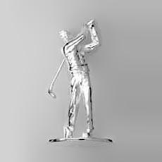 Zierfigur Golfspieler  in echt Sterling-Silber 925, Miniatur-Standmodell