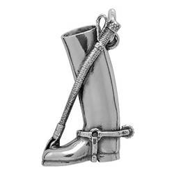Anhänger Reitstiefel mit Gerte in echt Sterling-Silber 925 und Gold, Ketten- oder Schlüssel-Anhänger
