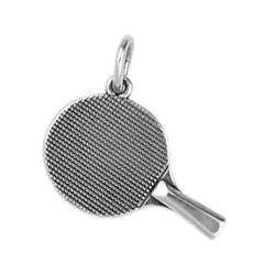 Anhänger Tischtennisschläger in echt Sterling-Silber 925 oder Gold, Charm, Ketten- oder Bettelarmband-Anhänger