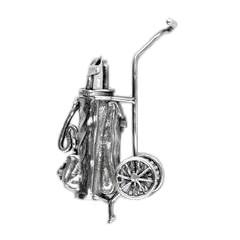 Zierfigur Golfwagen, Golftrolley mit Tasche in echt Sterling-Silber 925