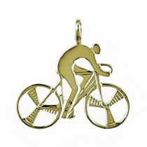Anhänger Rennrad-, Bahnrad-Fahrer in echt Sterling-Silber 925 oder Gold, Ketten- oder Schlüssel-Anhänger