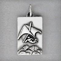 Anhänger Drachenflieger, Plättchen in echt Sterling-Silber 925 oder Gold, Charm, Ketten- oder Bettelarmband-Anhänger