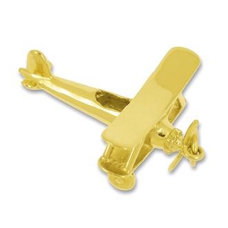 Anhänger Flugzeug Doppeldecker in echt Sterling-Silber 925 oder Gold, Charm, Ketten- oder Bettelarmband-Anhänger