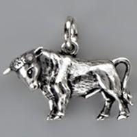 Anhänger Stier, Sternzeichen in echt Sterling-Silber 925 oder Gold, Ketten- oder Schlüssel-Anhänger