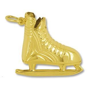 Anhänger Eishockeyschuh in echt Gold, Ketten- oder Schlüssel-Anhänger