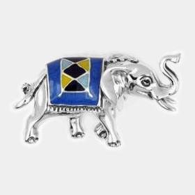 Zierfigur Elefant mit Decke in echt Sterling-Silber 925 emailliert, Standmodell
