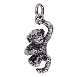 Anhänger Affe in Silber oder Gold, Charm T173, Schlüsselanhänger oder Kettenanhänger