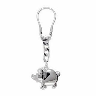 Schlüsselanhänger Schwein in echt Silber 925 inklusive Schlüsselring und Kette