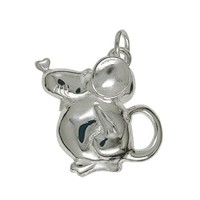 Anhänger Maus in echt Sterling-Silber 925 weiß, Ketten- oder Schlüssel-Anhänger