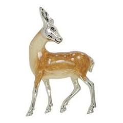 Zierfigur Reh in echt Sterling-Silber 925 emailliert, Standmodell