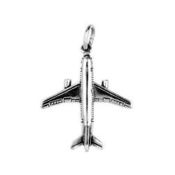 Anhänger Flugzeug Airbus in echt Sterling-Silber 925 oder Gold, Charm, Ketten- oder Bettelarmband-Anhänger