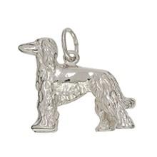 Anhänger Afghanischer Windhund in echt Sterling-Silber 925 oder Gelbgold, Ketten- oder Schlüssel-Anhänger