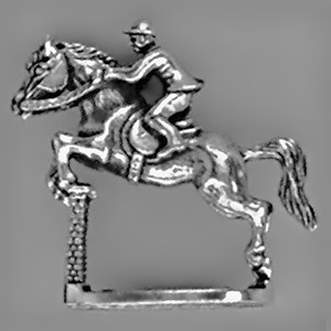 Springreiter mit Hindernis in echt Sterling-Silber 925 oder Gold, Standmodell, Miniatur