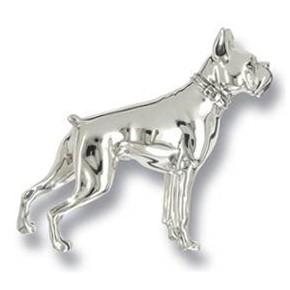 Zierfigur Boxer, Hund in echt Sterling-Silber 925, Standmodell