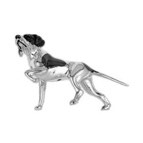 Zierfigur Jagdhund, English Pointer in echt Sterling-Silber 925, Standmodell