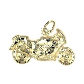 Anhänger Yamaha Motorrad in echt Sterling-Silber 925 oder Gold, Charm, Ketten- oder Bettelarmband-Anhänger