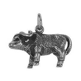 Anhänger Büffel, Bison, Rind in echt Sterling-Silber oder Gold, Charm, Ketten- oder Bettelarmband-Anhänger