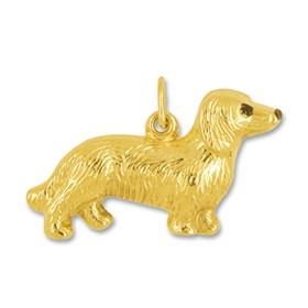 Anhänger Dackel, Hund in echt Gelbgold, Charm, Ketten- oder Bettelarmband-Anhänger