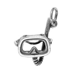 Anhänger Taucherbrille mit Schnorchel in echt Sterling-Silber 925 oder Gold, Charm, Ketten- oder Bettelarmband-Anhänger