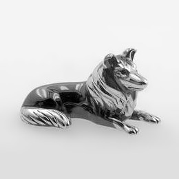 Zierfigur Collie, Hund in echt Sterling-Silber 925, Standmodell