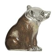 Zierfigur Bär echt Sterling-Silber 925 emailliert, Standmodell