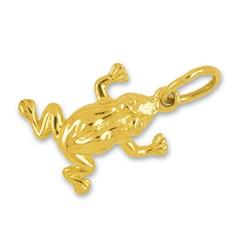 Anhänger Frosch in echt Gelbgold, Charm, Ketten- oder Bettelarmband-Anhänger