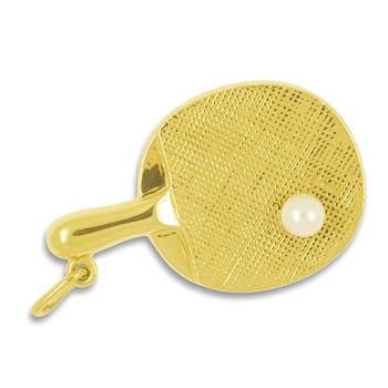 Anhänger Tischtennisschläger mit Zuchtperle in echt Gold, Charm, Ketten- oder Bettelarmband-Anhänger