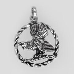 Anhänger Auerhahn mit Kordelrand in echt Sterling-Silber oder Gold, Ketten- oder Schlüssel-Anhänger