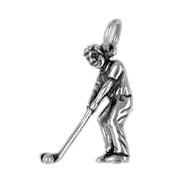 Anhänger Golfspieler in echt Sterling-Silber 925 oder Gold, Charm, Ketten- oder Bettelarmband-Anhänger