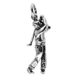 Anhänger Golfspieler in echt Silber 925 oder Gold, Charm, Ketten- oder Bettelarmband-Anhänger