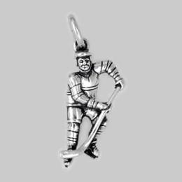 Anhänger Eishockeyspieler in echt Sterling-Silber 925 oder Gold, Ketten- oder Schlüssel-Anhänger