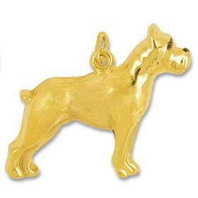 Anhänger Boxer, Hund in echt Gelbgold mattiert, Ketten- oder Schlüssel-Anhänger
